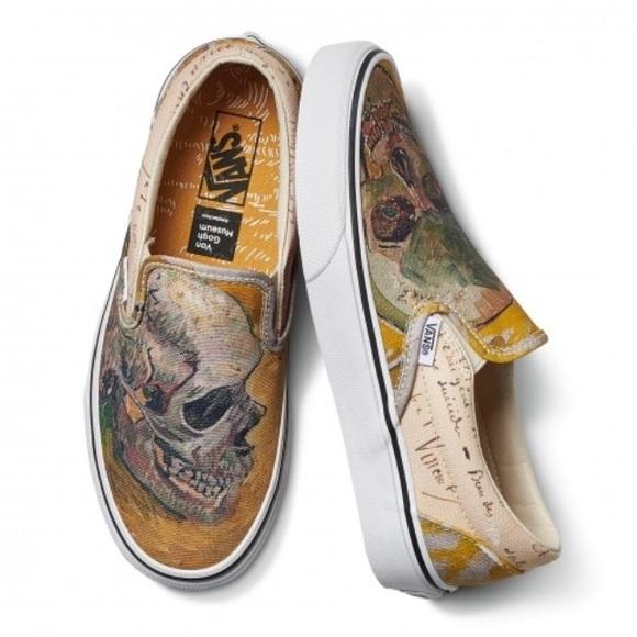 11dc25a22c4a7 Vans X Van Gogh Skull Slip On Sneakers women's 5.5 NWT